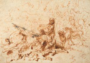Castiglione Giovanni Benedetto - Deux Hommes préparant un campement